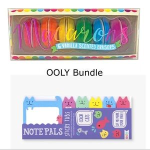 New OOLY Macaron Erasers Cat Sticky Notes Bundle